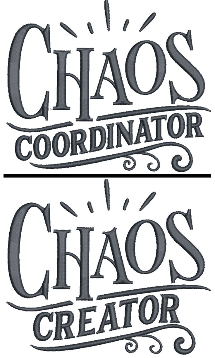chaos coordinator embroidery design