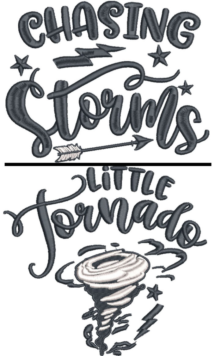 chasing storms embroidery design