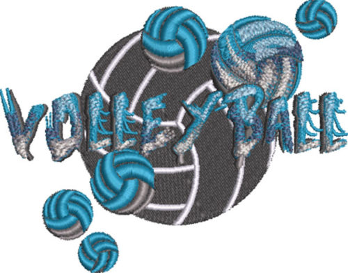 stone type volleyball embroidery design