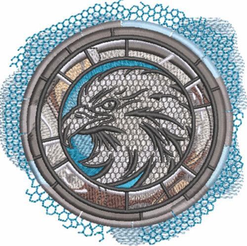 eagle mascot medallion embroidery design