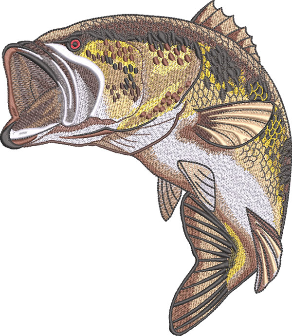 largemouth bass swimming embroidery design