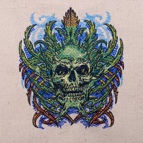 psychedelic skull embroidery design