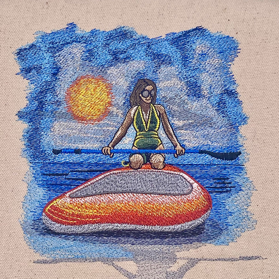 female paddle boarder embroidery design