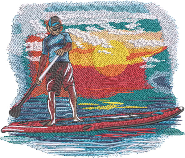 male paddleboarder embroidery design