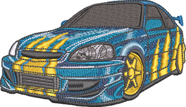 ripped sports car embroidery design