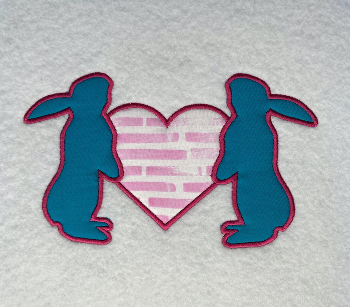 bunnies with heart applique
