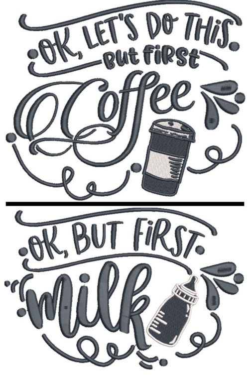 coffe first embroidery design