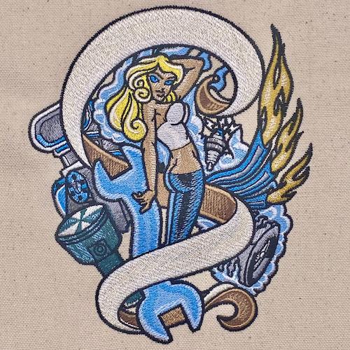 Automotive Pinup Girl Tattoo