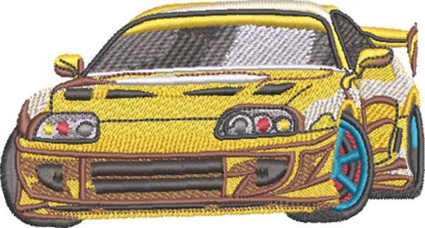 sleek sports car embroidery design