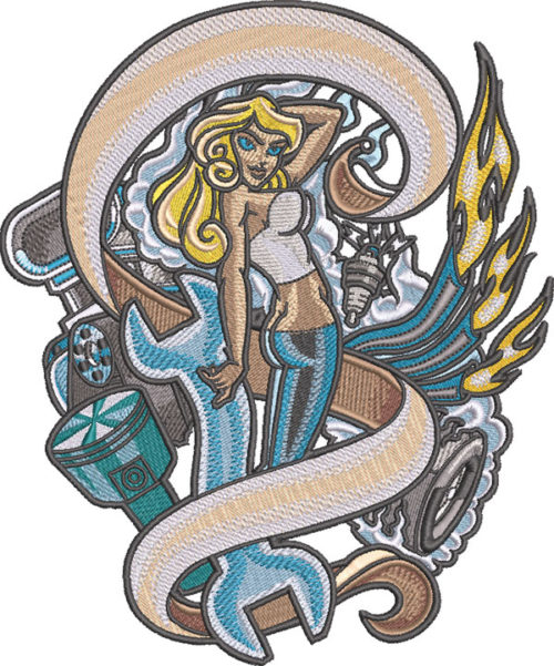 automotive pinup girl tattoo embroidery design