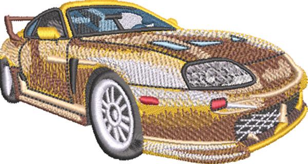 dynamic sports car embroidery design
