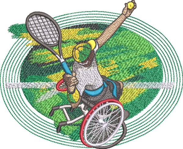 para sport wheelchair tennis embroidery design