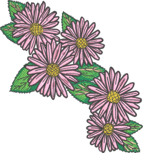 daisy cluster embroidery design
