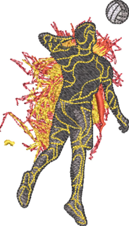 lava volleyball player embroidery design