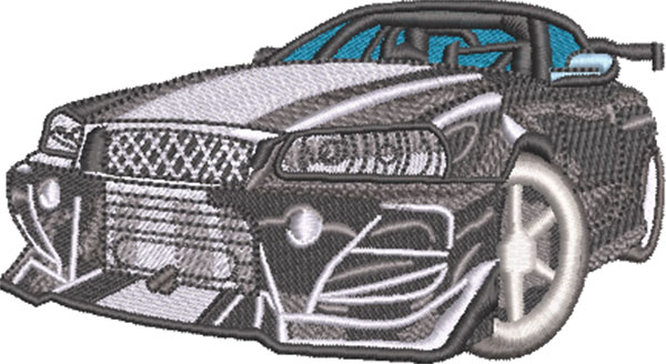 cool sports car embroidery design