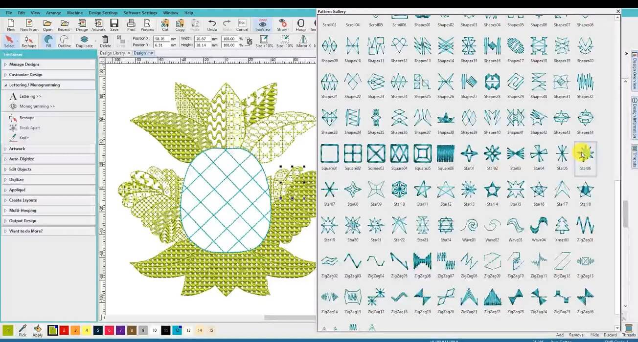 Linda lesson pineapple design in Hatch software