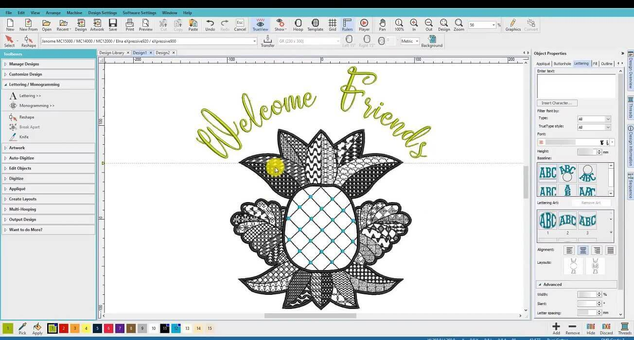 Linda lesson pineapple design in Hatch 2 embroidery software