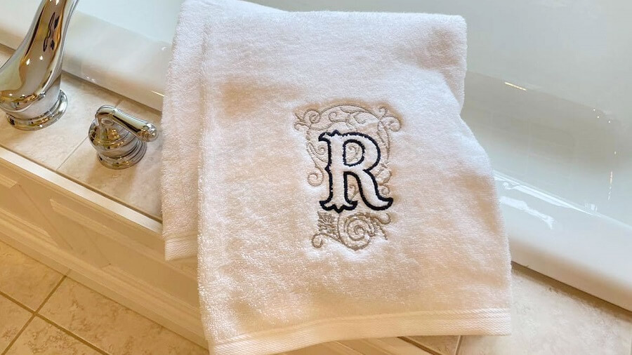 embroidery monogram on bath towel
