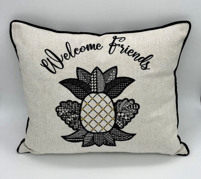 pineapple motif embroidered pillow