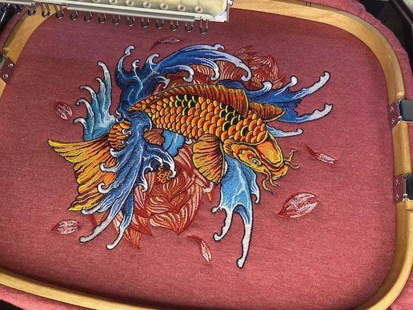 quality embroidery design koi fish