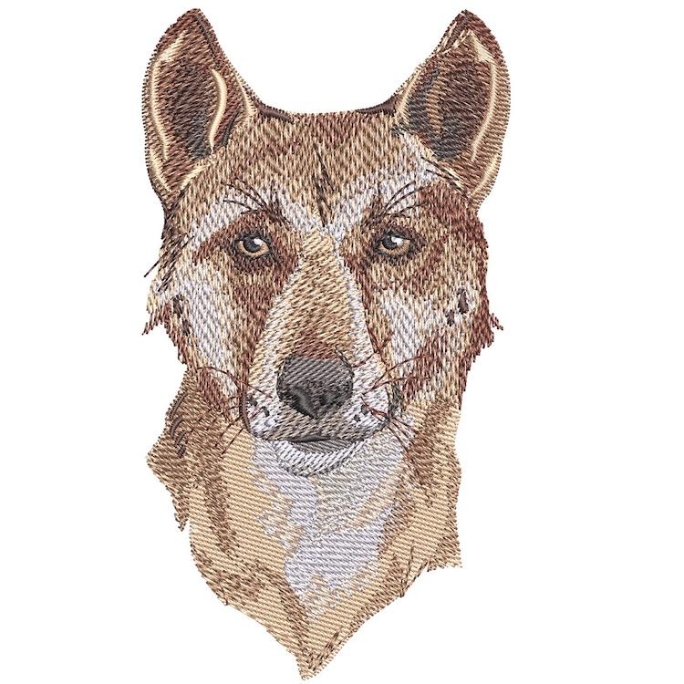 Outback Dingo face embroidery design