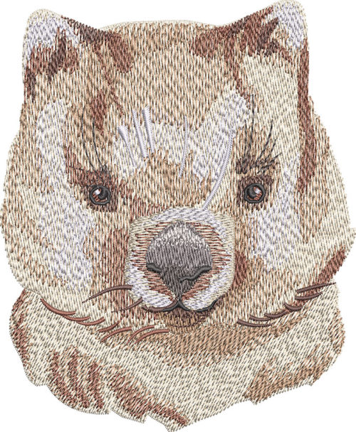 quokka face embroidery design