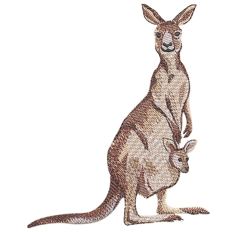 Outback Kangaroo with Baby embroidery design