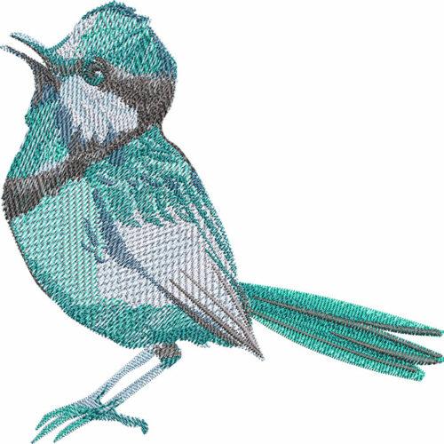 Outback superb fairywren embroidery design