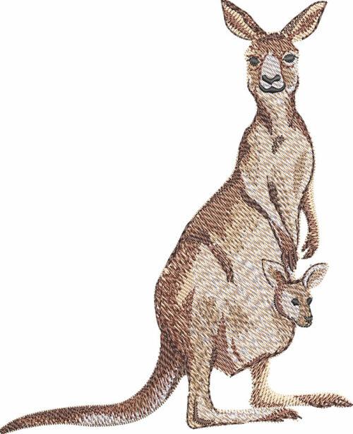 Kangaroo with baby embroidery design