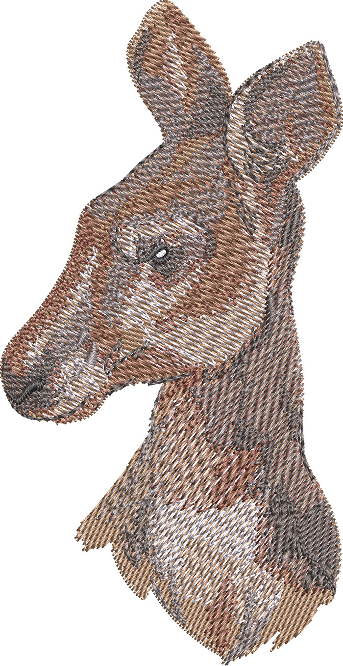 Kangaroo head embroidery design