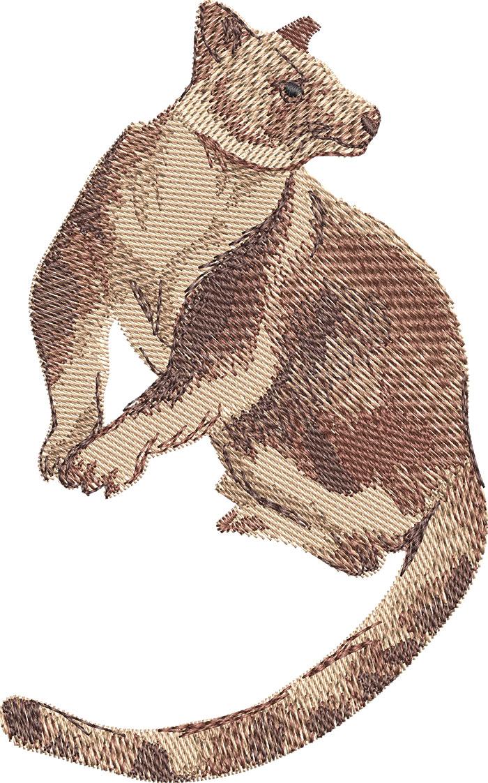 tree kangaroo embroidery design