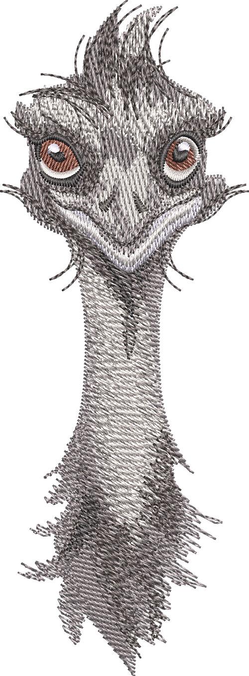 emu face embroidery design