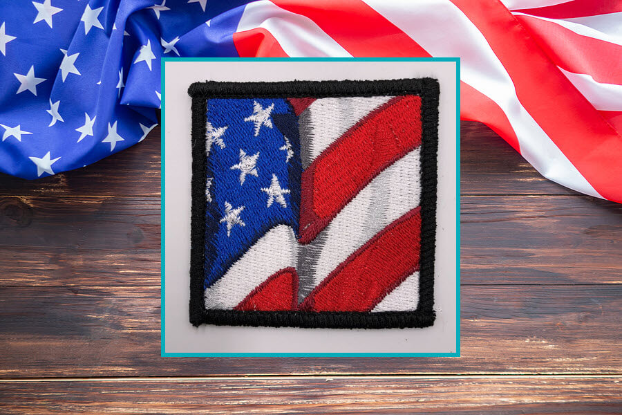 American flag patch design with background