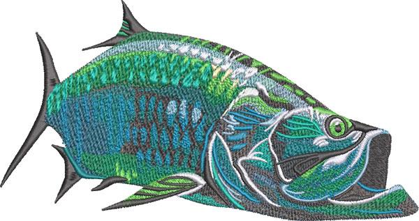 Tarpon fish swimming embroidery design