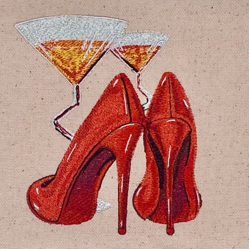 Martini and shoes embroidery design