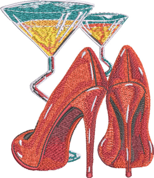 martini and shoes embroidery designs