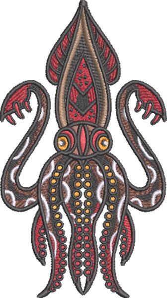 tattoo squid embroidery design