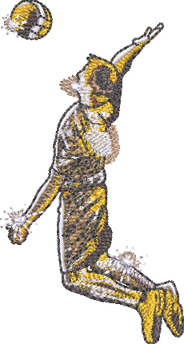 gold volleyball embroidery design