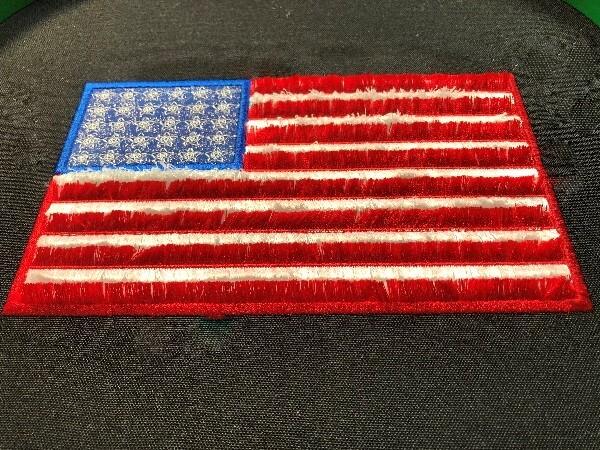 Fringe double applique American Flag