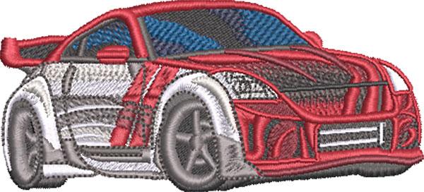 striped sports car embroidery design