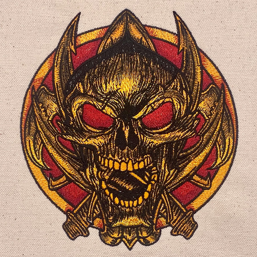 skull and knives embroidery design