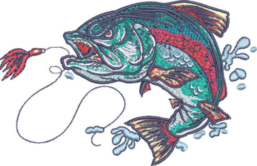 crazy trout embroidery design