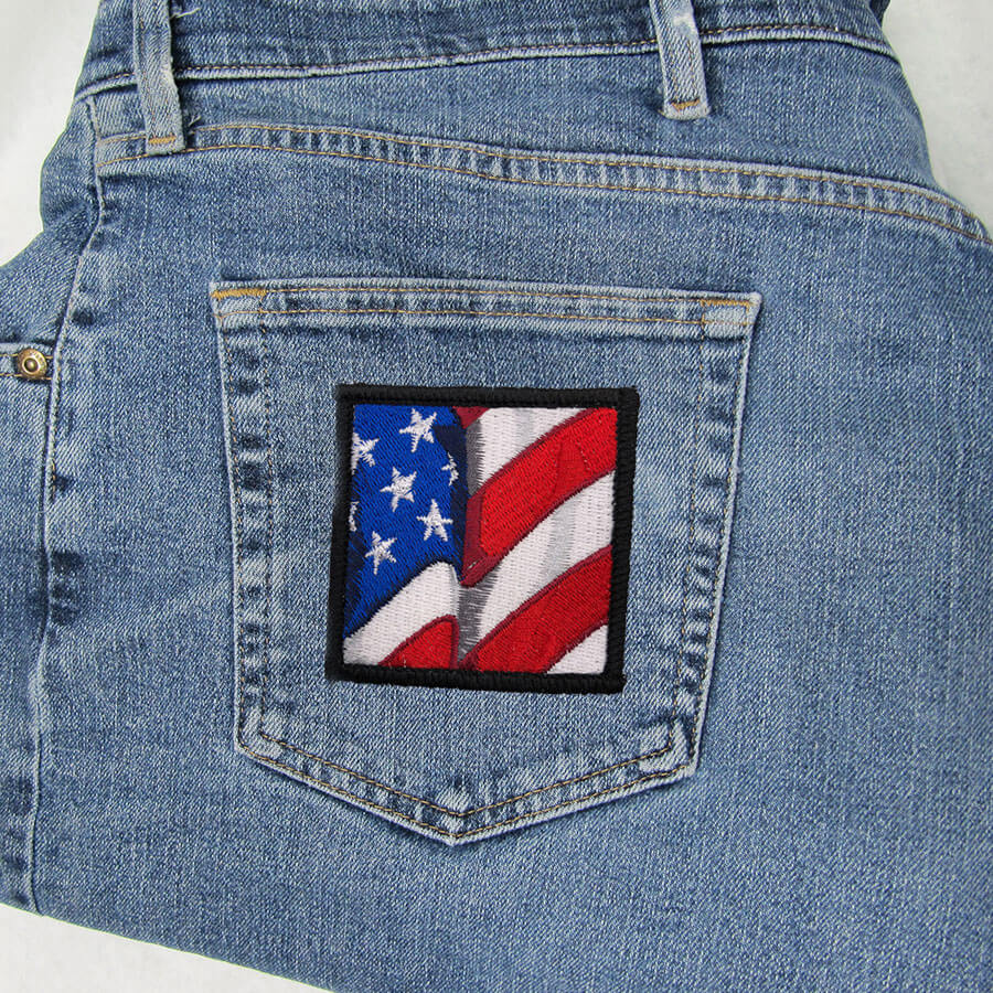 American flag patch jeans