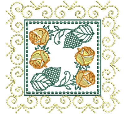 rose frame block embroidery design