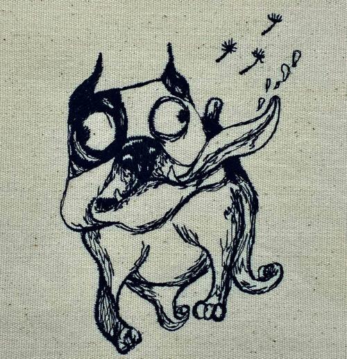 born happy funny dog embroidery design
