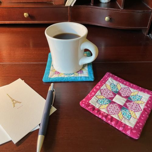 Hatch embroidery personalized mug rug project