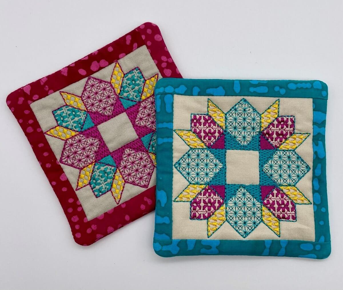 In-the-hoop embroidery mug rugs