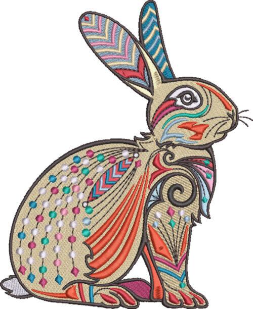 graphic rabbit embroidery design