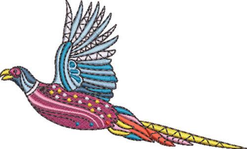graphic pheasant embroidery design
