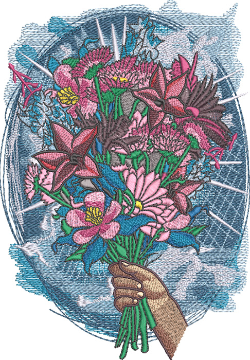 Mother's day bouquet embroidery design